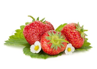 Three strawberry fruits with flowers and green leaves Isolated on white background
