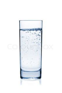 Water with bubbles in glass Isolated on white background