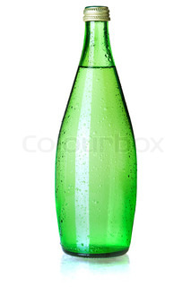 Glass bottle of soda water with water drops Isolated on white background