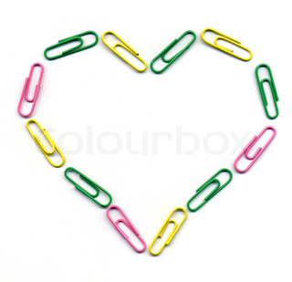Valentine heart made with paper clips