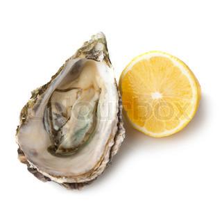 Fresh oyster and half of lemon