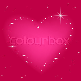 Star heart in pink sky