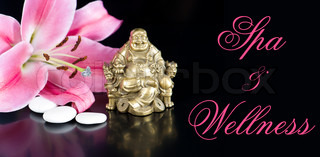 buddha with stones and lily flower spa and wellness concept