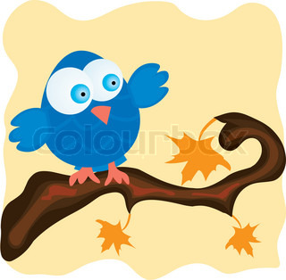 Blue bird on a branch with orange maple leaves Vector illustration