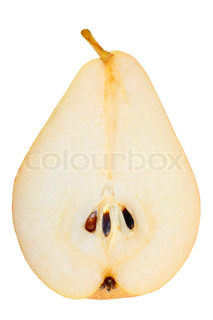 One a red-yellow slices of pear Isolated on white background