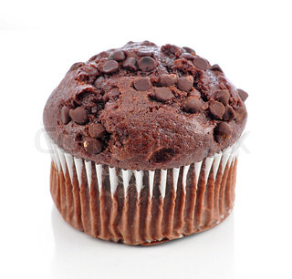 a chocolate muffin on white background
