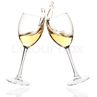 Wine collection - Cheers! Clink glasses with white wine Isolated on white background