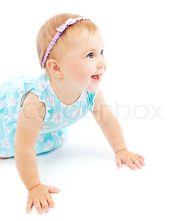 Adorable little baby girl laughing, crawling and playing at studio, isolated on white background