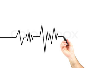a heart rate graph isolated against a white background