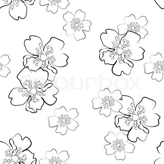 Seamless background with isolated sakura flowers in sketch style