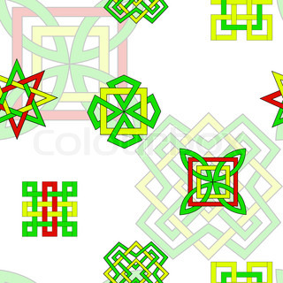 Seamless background with bright elements in celtic style for Irish mail cart plans