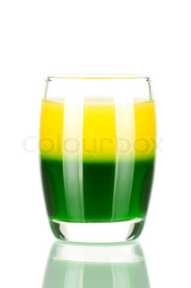 Shot cocktail collection: Green and Gold alcohol cocktail isolated on white background
