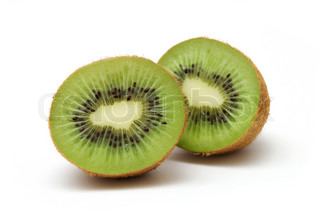 two halves of kiwi against white background