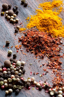 Pepper and other seasonings on a table