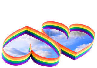 Two hearts, paint of a six-colour gay flag