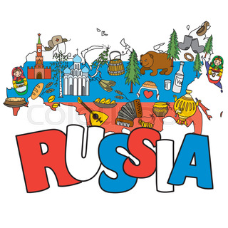 Russia travel set with vintage national elements icons set