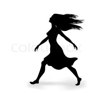 sorte silhuetter af smukke walking kvinde på den hvide
