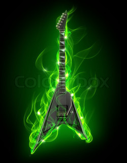 Electric guitar in green fire and flame