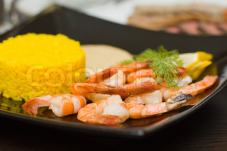 Rice and shrimps - gourmet food