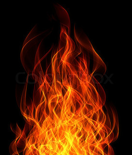 Fire and flame on the black background