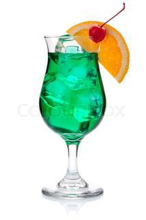 Green tropical cocktail with orange and maraschino
