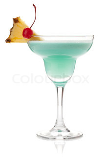 Blue tropical cocktail with cream
