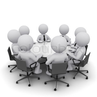 3D men sitting at a round table and having business meeting