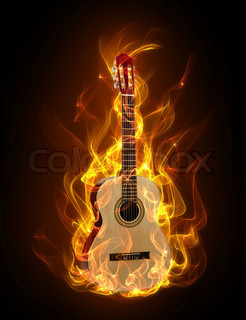 Acoustic guitar in fire and flames on black background