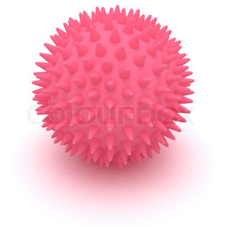 Pink massage ball isolated on the white background