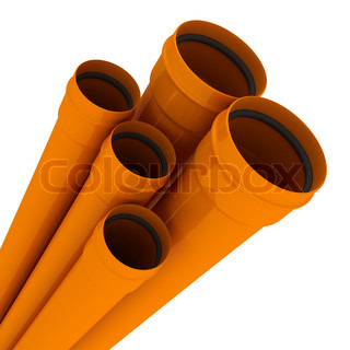 Some orange drain pipes isolated on white