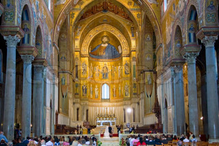 wedding in ancient Norman style cathedral -  Duomo di Monreale, Palermo, Sicily, Italy on June 25, 2011