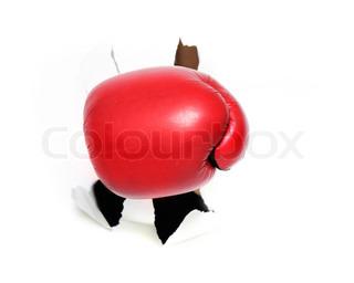 Boxer Handschuh brechen Papier