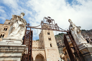 gateway to Cathedral-Basilica of Cefalu, Sicily, Italy
