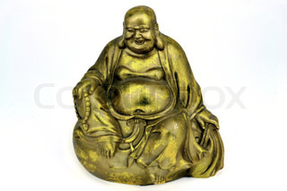 Golden Buddha statue isolated on white
