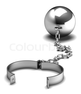 Metallic ball and chain isolated on white