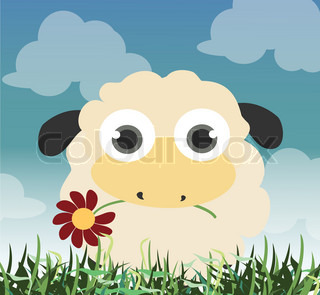 Beautiful background whit sheep holding a flower