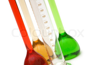 Close up of measuring glass isolated on the white