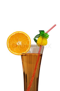 Cocktail and orange slice isolated on white