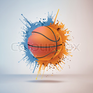 Basketball Ball in Paint on Vignette Background. Vector.