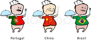Chef of restaurant from Portugal, China, Brazil - vector illustration - A Portuguese chef, a Chinese chef, a Brazilian chef