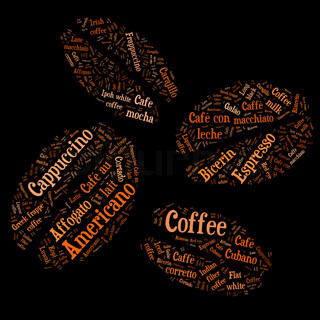 Coffee beans of words of the types of coffee
