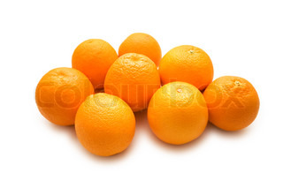 Lots of oranges isolated on the white