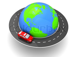 3d illustration of car travel around world concept