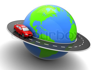 3d illustration of car on road around earth globe