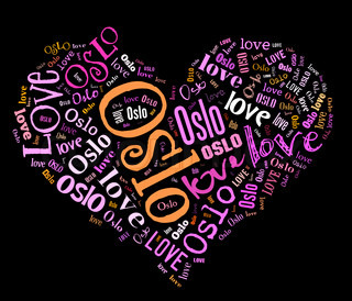 Wordcloud: isolated love heart of city on black background