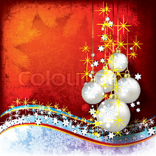 Abstract Christmas background with pearl decorations on red