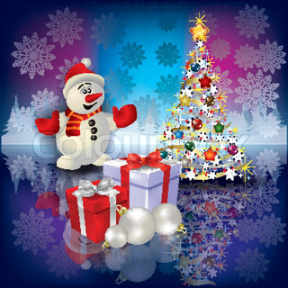 Abstract Christmas greeting with snowman tree and gifts