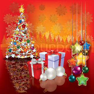 Abstract greeting with Christmas tree and gifts