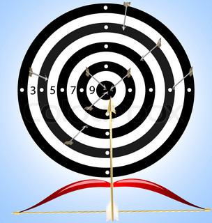 on a colored background target, in which instead of arrows fly brushes, near bow and paint
