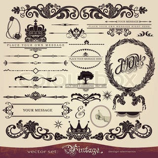 Calligraphy set: vintage style, ornate design ornaments and page decoration (creative patterns)